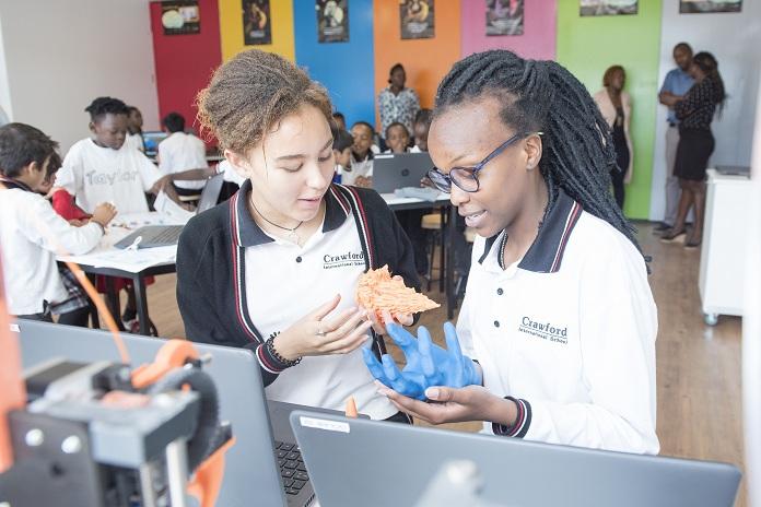 Children working in the Go-lab at Crawford international school. Destin Africa